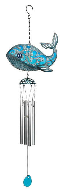 Whale Coastal Rustic Glass Metal Wind Chime
