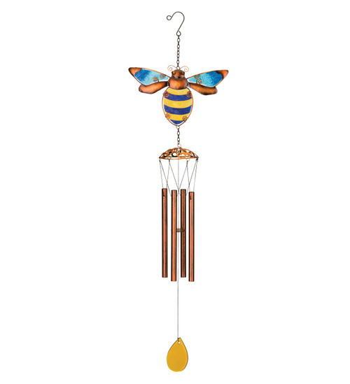 Bumble Bee Glass Suncatcher Metal Wind Chime
