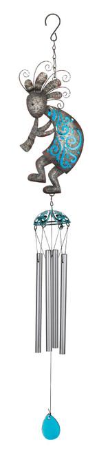 Kokopelli Southwest Rustic Glass Metal Wind Chime