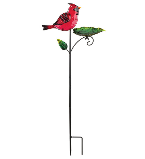Cardinal Glass Metal Bird Feeder Garden Plant Stake