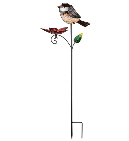 Finch Glass Metal Bird Feeder Garden Plant Stake