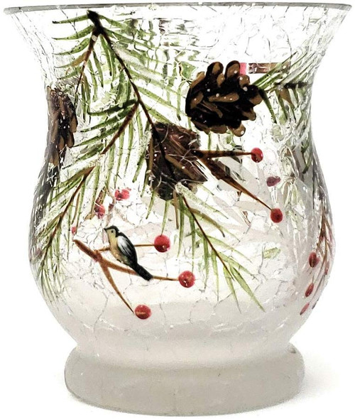 First Frost Pinecone Crackle Glass Hurricane Votive Holder Yankee Candle