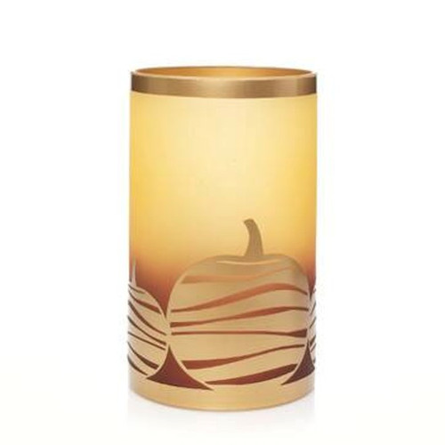 Amber Pumpkin Glass Metal Jar Pillar Holder Yankee Candle