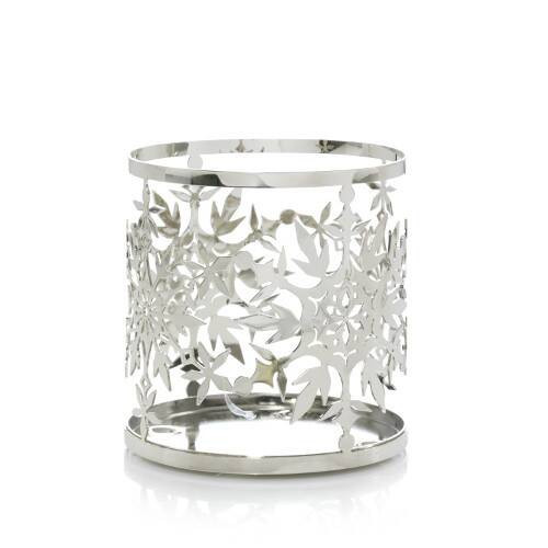 Snowflake Chrome Metal Cutout Jar Holder Yankee Candle