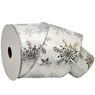 Silver Sparkle Snowflake on Solid White Wide Wired Ribbon 33yd