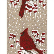 Cardinal Snow Berry on Natural Burlap Weave Cardsnow Wide Wired Ribbon 25yd