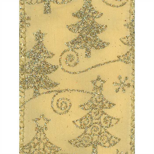 Gold Sparkle Christmas Tree on Solid Gold Conrad Wide Wired Ribbon 50yd