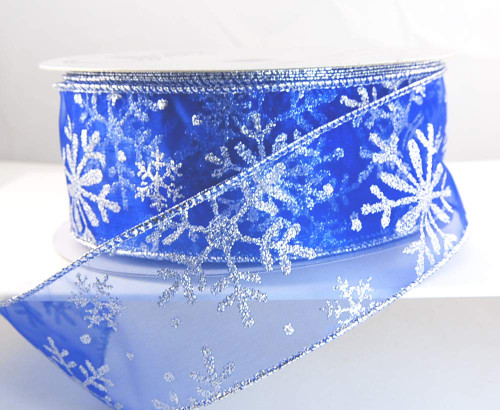 Silver Sparkle Snowflake on Sheer Blue Miner Wide Wired Ribbon 50yd