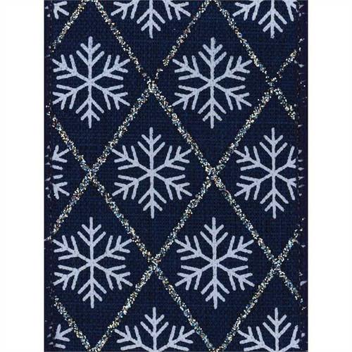 Snowflake on Navy Burlap Weave Felisa Wide Wired Ribbon 25yd