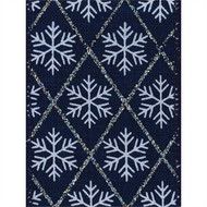 Snowflake on Navy Burlap Weave Felisa Wide Wired Ribbon 25yd
