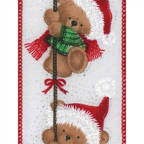 Christmas Teddy Bear on Solid White Zizza Wide Wired Ribbon 25yd