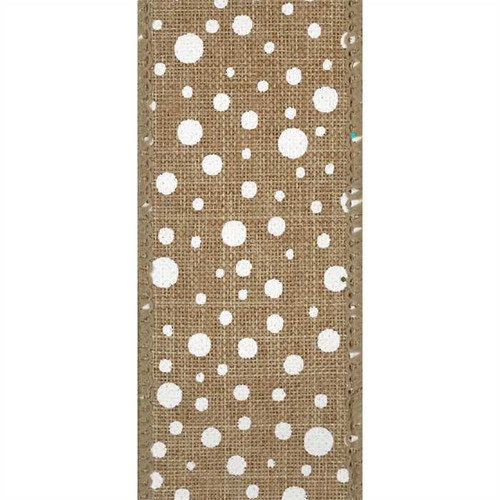 White Polka Dot on Natural Burlap Weave Pluto Wired Ribbon 25 yards