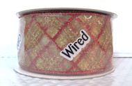 Red Gold Sparkle Plaid Stripes on Sheer Gold Rosamund Wide Wired Ribbon 25 yards