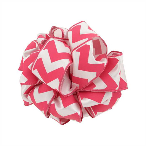 Shocking Pink Chevron on Solid White Wide Wired Ribbon 25 yards