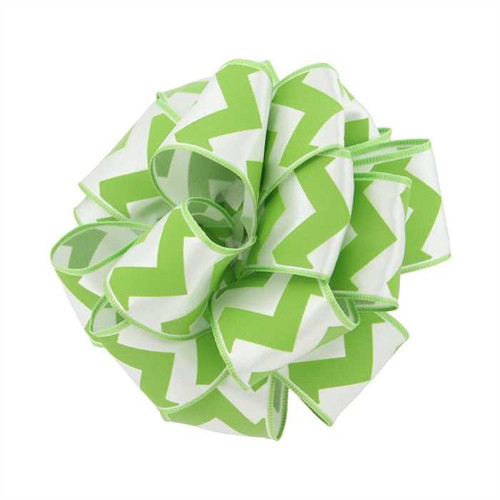 Lime Green Citrus Chevron on Solid White Wide Wired Ribbon 25 yards