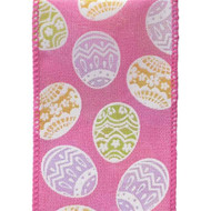 Easter Eggs on Solid Pink Fenella Wide Wired Ribbon 25 yards