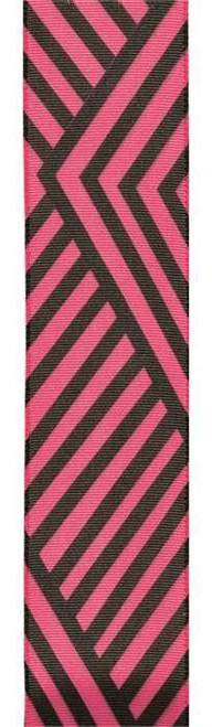 Shocking Pink Black Angular Stripes on Solid Jive Wired Ribbon 25 yards