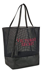 Black Mesh Pink Embroidery Large Tassel Tote Victoria's Secret