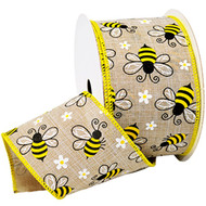 Bumblebee on Natural Burlap Wide Wired Ribbon 25 Yards Morex