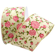 Springtime Splendor Pink Rose on Woven Cream Wide Wired Ribbon 10 Yards