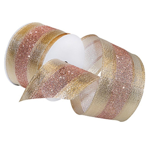 Pink Blush Sparkle on Gold Shimmer Wide Wired Ribbon 20 Yards