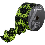 Black Flocked Bouquet Toile on Bright Green Wide Wired Ribbon 15 Yards