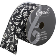 Thankful White on Solid Black Wide Wired Ribbon 15 Yards