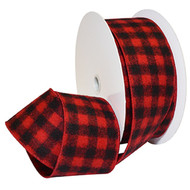 Red Black Buffalo Flannel Plaid Wide Wired Ribbon 33 Yards