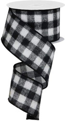 White Black Buffalo Flannel Plaid Wide Wired Ribbon 33 Yards