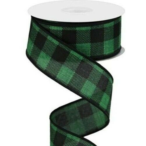 Green Black Buffalo Flannel Plaid Wide Wired Ribbon 33 Yards