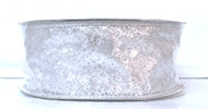 Silver Webs on Sheer Silver Enchantment Wide Wired Ribbon 50 Yards