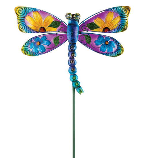 Blue Floral Dragonfly Glass Metal Garden Stake Regal Gifts
