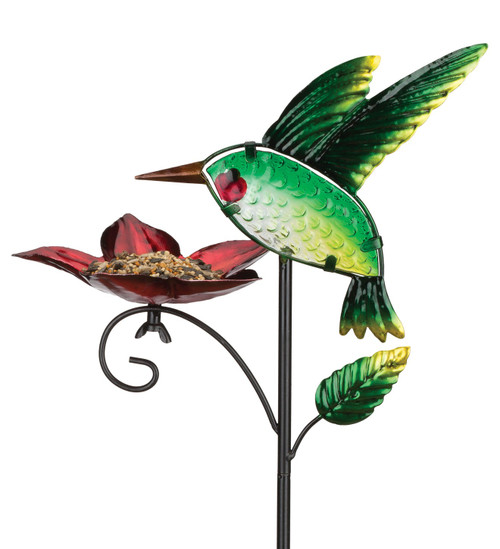 Hummingbird Glass Metal Bird Feeder Garden Plant Stake Regal Gifts