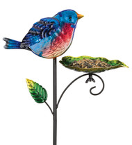 Bluebird Glass Metal Bird Feeder Garden Plant Stake Regal Gifts