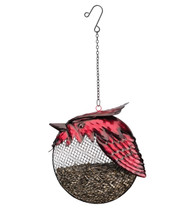Cardinal Fat Bird Metal Hanging Seed Feeder Regal Gifts