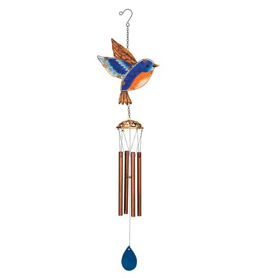 Bluebird Glass Metal Garden Wind Chime Regal Gifts