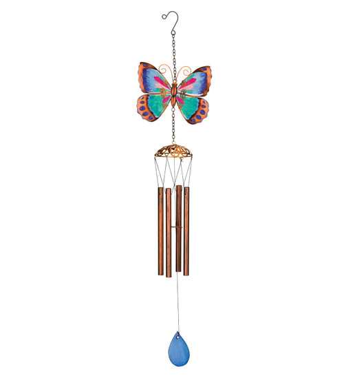 Green Butterfly Glass Metal Garden Wind Chime Regal Gifts