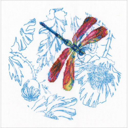 Red Dance of The Dragonfly Stamped Cross Stitch Kit RTO
