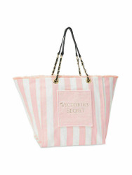 Pink White Stripe Canvas Tote Bag Victoria's Secret
