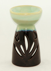 Blue and Black Tulip Cutout Ceramic Oil Warmer Tart Burner