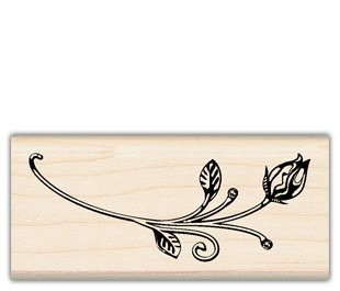 Rose Bud Inkadinkado Wood Stamp