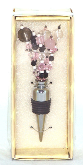 Pink Black Clear Beaded Spray Metal Wine Stopper Bottle top
