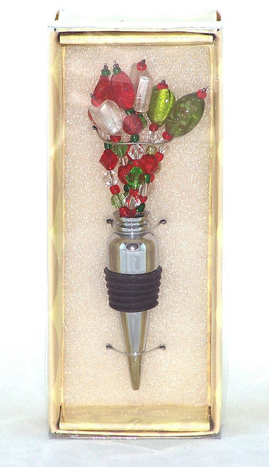 Red Green Clear Beaded Wire Metal Spray Wine or Bottle Stopper