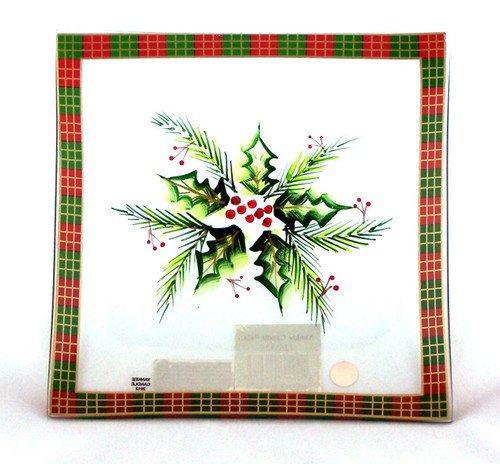 Shop here for Christmas Decor-Plaid Holly Glass Candle Tray Yankee Candle