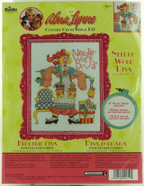 Needlework Diva Counted Cross Stitch Kit Alma Lynne Bucilla