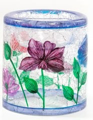 Poppy Crackle Glass Tea Light Holder Yankee Candle small cylinder