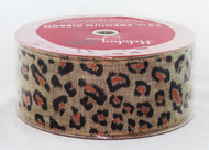 Hurry! Limited supply Bronze Leopard Print on Natural Burlap Wide Wired Ribbon