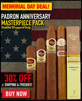 Padron Anniversary Masterpiece Pack (5 CIGAR SPECIAL) + 30% OFF RETAIL! + FREE MELANINE ASHTRAY + FREE SHIPPING ON YOUR ENTIRE ORDER!