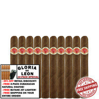 Curivari Gloria De Leon Tremendos (4.5x44 / 10 PACK SPECIAL) + 25% DISCOUNT + 4-PACK CUBANACAN CHATOS + BUTANE JET LIGHTER + FREE SHIPPING ON YOUR ENTIRE ORDER!