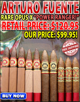 Arturo Fuente Opus X Belicoso XXX Power Ranger (10 Pack Sampler Special) + FREE SHIPPING ON YOUR ENTIRE ORDER!